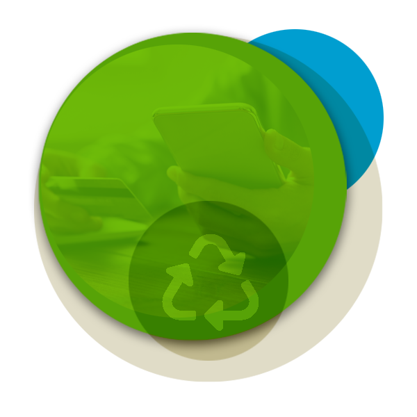 Circular illustration with recycling and security images